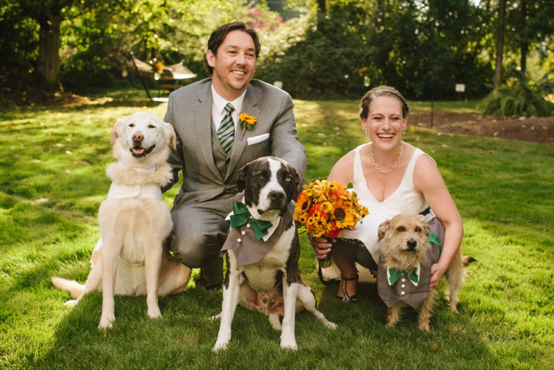 Annie and Pups after being married by Seattle Wedding Officiant Annemarie Juhlian