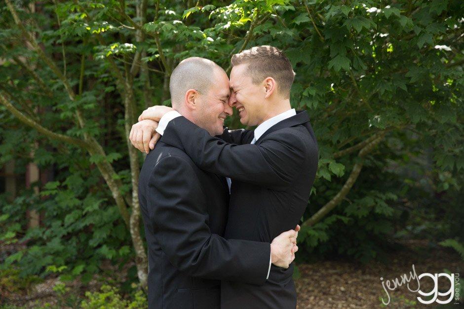 Two lovely men in Love after being married by Seattle Wedding Officiant Annemarie Juhlian