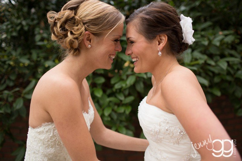 Mary & Monica after being married by Seattle Wedding Officiant Annemarie Juhlian