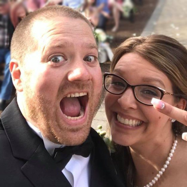 Laughing couple Selfie happily married in Seattle