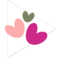 three sweet hearts on a play button