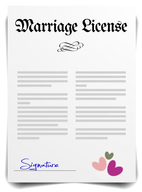 Seattle and Puget Sound Marriage License graphic with 3 hearts